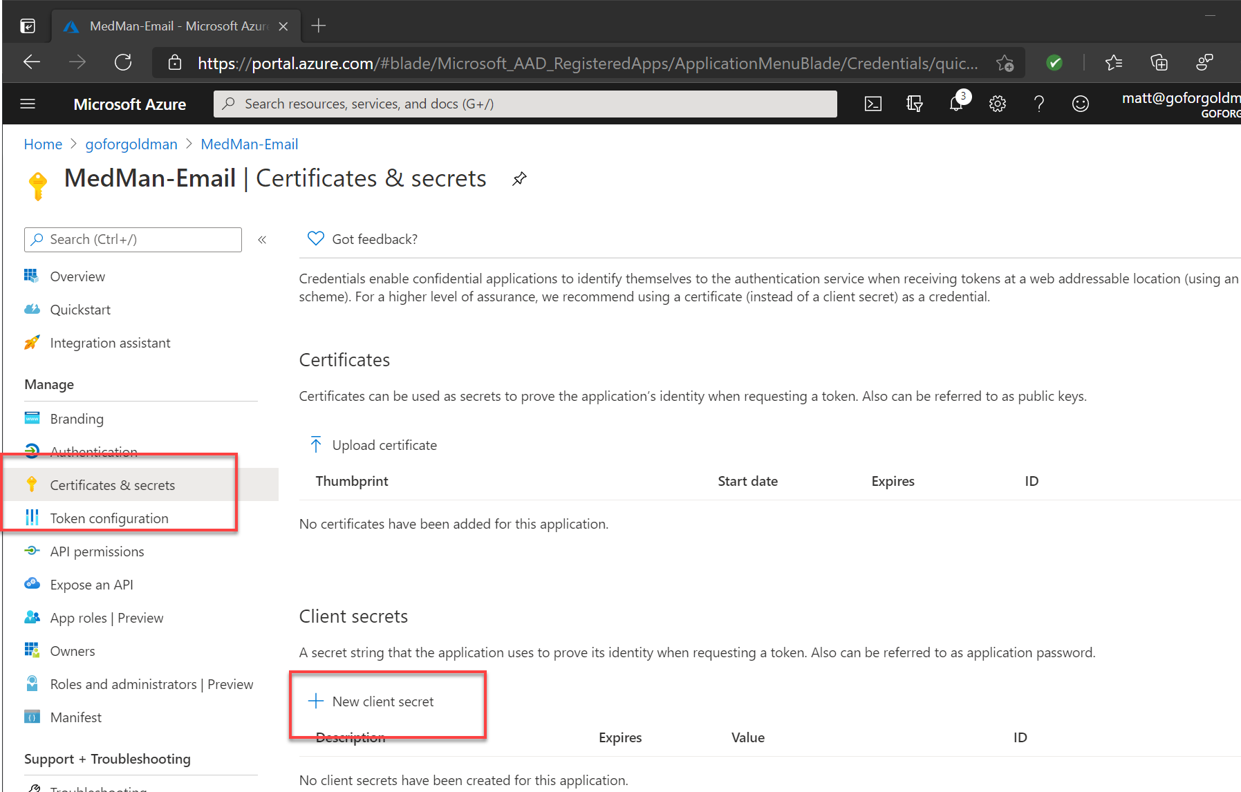 App registration client secrets in the Azure portal